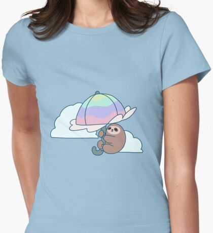 Parasol Sloth Womens Fitted T-Shirt