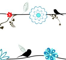 Birds on a wire with brightly colored flowers. Sticker
