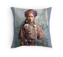 Colorized Philippine Itneg Tribe Woman Throw Pillow