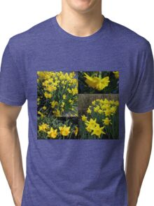A Collage of Golden Daffodils Tri-blend T-Shirt