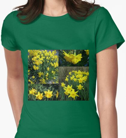 A Collage of Golden Daffodils Womens Fitted T-Shirt