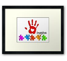 Autism Awareness Childs Hand Framed Print