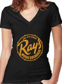 Ray's Music Exchange (worn look) Shirt Women's Fitted V-Neck T-Shirt