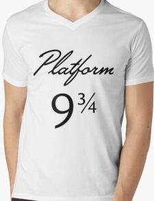 Harry Potter Platform 9 3/4 Text Mens V-Neck T-Shirt
