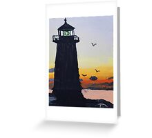 Lighthouse Silhouette At Sunset Greeting Card