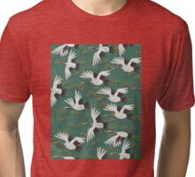 Japanese Crane Pattern Tri-blend T-Shirt