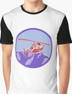 Helicopter Alps Mountains Circle Retro Graphic T-Shirt