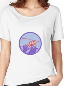 Helicopter Alps Mountains Circle Retro Women's Relaxed Fit T-Shirt