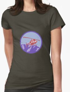 Helicopter Alps Mountains Circle Retro T-Shirt