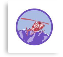 Helicopter Alps Mountains Circle Retro Canvas Print