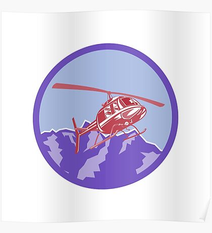 Helicopter Alps Mountains Circle Retro Poster