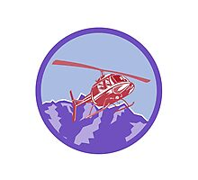 Helicopter Alps Mountains Circle Retro Photographic Print