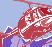 Helicopter Alps Mountains Circle Retro Sticker