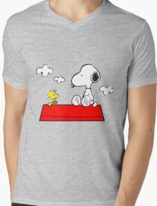 Snoopy & Woodstock Mens V-Neck T-Shirt