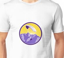 Paragliding Alps Mountains Circle Retro Unisex T-Shirt