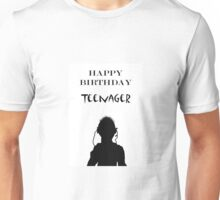 Teenage happy Birthday, silhouette and ear phones Unisex T-Shirt