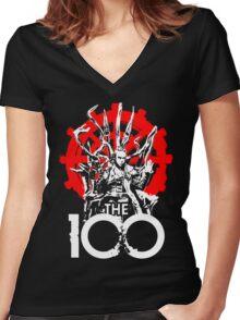 The 100 Lexa Symbol Women's Fitted V-Neck T-Shirt