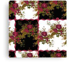 Retro floral poppy pattern, digital print in retro patchwork style Canvas Print