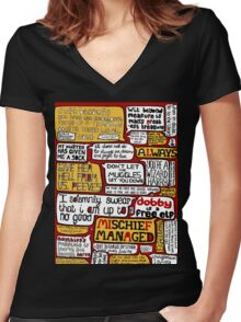Harry Potter Typography  Women's Fitted V-Neck T-Shirt