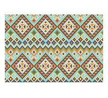Tribal Blue Pixel Photographic Print