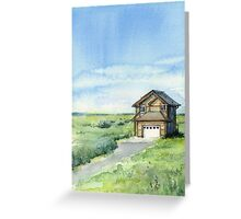 Long Beach, WA - Watercolor Painting - Grassy Dunes Beach House Greeting Card