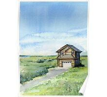Long Beach, WA - Watercolor Painting - Grassy Dunes Beach House Poster