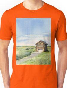 Long Beach, WA - Watercolor Painting - Grassy Dunes Beach House Unisex T-Shirt