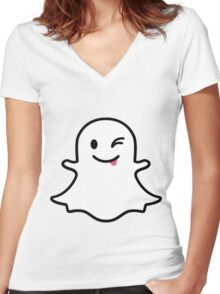 Snapchat Ghost Women's Fitted V-Neck T-Shirt