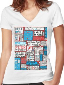 David Bowie Lyrics Typography Women's Fitted V-Neck T-Shirt