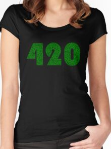 420 Weed Leaf Pattern Women's Fitted Scoop T-Shirt