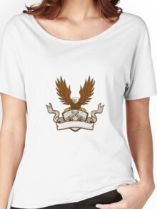 Bald Eagle Crossed 45 Caliber Pistols Shield Retro Women's Relaxed Fit T-Shirt