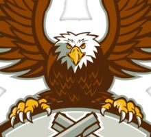 Bald Eagle Crossed 45 Caliber Pistols Shield Retro Sticker