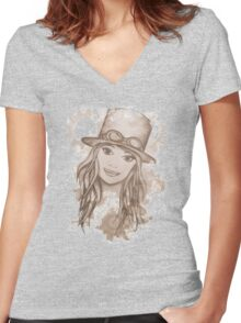 Steampunk Girl Women's Fitted V-Neck T-Shirt