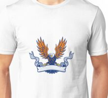 Bald Eagle Swooping Spread Wings Scroll Retro Unisex T-Shirt