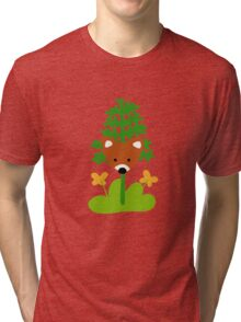 Hide and Fox Pattern and Drawing Tri-blend T-Shirt