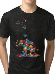 Rainbow color Baby elephant  Tri-blend T-Shirt