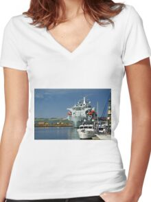 RFA Argus at Falmouth Docks Women's Fitted V-Neck T-Shirt