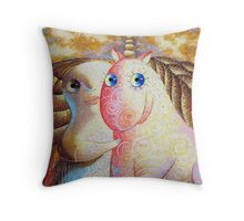 Beauty and the unicorn. Painting Size: 60 H x 80 W x 2 cm, canvas/acrylic Throw Pillow