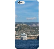 Cruising the Med - Cruise Ship, Imposing Cliff, and Calm Blue Mediterranean Water at Sorrento, Italy iPhone Case/Skin