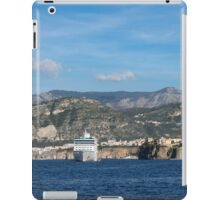 Cruising the Med - Cruise Ship, Imposing Cliff, and Calm Blue Mediterranean Water at Sorrento, Italy iPad Case/Skin