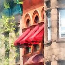 Hoboken NJ - Red Awnings on Brownstone  by Susan Savad