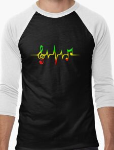 Music Pulse, Reggae, Sound Wave, Rastafari, Jah, Jamaica, Rasta Men's Baseball ¾ T-Shirt