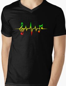 Music Pulse, Reggae, Sound Wave, Rastafari, Jah, Jamaica, Rasta Mens V-Neck T-Shirt