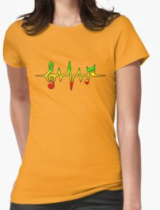Music Pulse, Reggae, Sound Wave, Rastafari, Jah, Jamaica, Rasta Womens Fitted T-Shirt