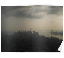 A Moody Sunset over Downtown Manhattan Poster