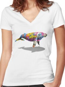 Tagged Whale Women's Fitted V-Neck T-Shirt