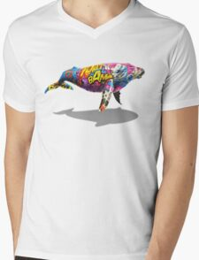 Tagged Whale Mens V-Neck T-Shirt