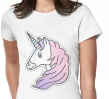 Rainbow Unicorn with pink and purple mane Womens Fitted T-Shirt