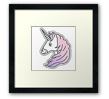 Rainbow Unicorn with pink and purple mane Framed Print