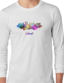Ghent skyline in watercolor Long Sleeve T-Shirt